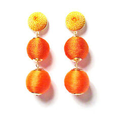 3-TIERS OF ORANGE SILKY SHEEN DISCO BALL DROP STATEMENT EARRINGS