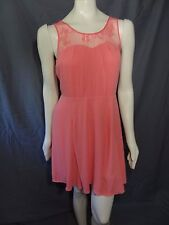 Express sleeveless mixed media fit anf flare coral pink dress sz 12 solid