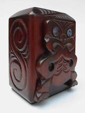VINTAGE HAND CARVED IN NEW ZEALAND MAORI TIKI WOODEN MONEY BOX PAUA SHELL INLAY
