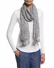 New Eileen Fisher $158 Dk Pearl Chevron Silk Cashmere Tassel Scarf