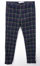 TOPMAN Stretch Skinny Leg Golf Pants Dark Tartan Plaid Mens 32/30