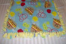 Fleece tie Blanket Hamburgers Yellow Blue 31 x 44