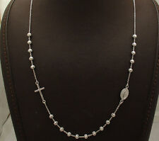 Adjustable Ball Bead Cross Rosary Chain Necklace Platinum Clad Sterling Silver