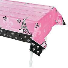 """Plastic Tablecloth (I Love Paris) 54"""" x 108"""""""