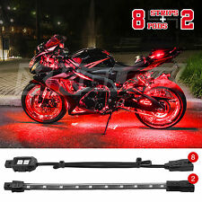 8 COMPACT PODS 2 STRIP LED Custom Motorcycle LED Neon Accent Light Pod Kit - RED