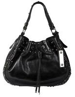 Karen Millen Black Stud and Eyelet Sling Bag