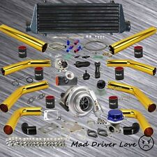"""GOLD 8PC 2.5"""" PIPING T3/T4 .57A/R UINVERSAL TURBO KIT FOR I4 ENGINE D B-SERIES"""