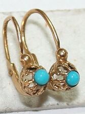 ANTIQUE VICTORIAN FRENCH 18K GOLD TURQUOISE HAND MADE CHILD SMALL EARRINGS 1900