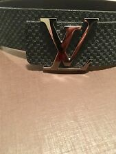 AuthenticLouis Vuitton suede marine belt LV Initiales buckle in Epi calf leather