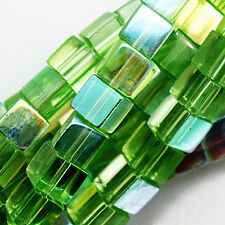 GLASS CUBE BEADS LIGHT GREEN AB COLORS SQUARE 4MM STRANDS