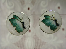 VINTAGE NORWAY STERLING GUILLOCHE ENAMEL SCREW BACK BUTTERFLY EARRINGS