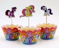 24pcs My Little Pony 12 Wraps+12 Cupcake Cake Toppers Kids Girls Birthday Party