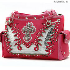 QC 893 HOTPINK CROSS WESTERN RHINESTONE PURSE CONCEALED CARRY WEAPON HANDBAG
