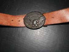 "Mens AMERICAN EAGLE Genuine Leather BELT w/ AEO LOGO BUCKLE 45""L 1 sz fits all"