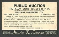 1942 P C CLEVELAND OH SUNSHINE UNDERWEAR CO PUBLIC AUCTION GOING OUT OF BUSINESS