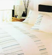 100% COTTON SINGLE DUVET SET MURANO STRIPES CREAM EMBROIDERED HELENA SPRINGFIELD