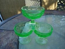 Vintage Federal Vaseline Green Glass Sherbet /Dessert Dishes