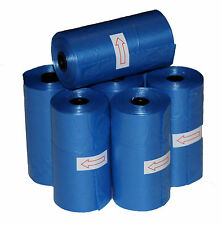 1020 DOG PET WASTE POOP BAGS BLUE REFILL ROLLS Plastic Core With FREE DISPENSER