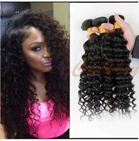 "10""-30"" Brazilian Human Hair Extensions Deep Curly Weft Remy Hair Weave 100g 1pc"