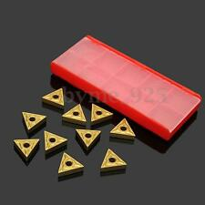 10Pcs Gold Triangular Carbide Tips Inserts TNMG 160404 Cutter Turning Tool w/Box