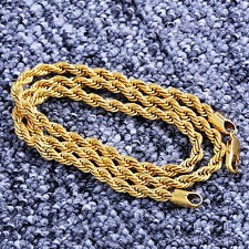 "Fashion 14K Yellow Solid gold Filled  Womens Men's 20"" 5mm Rope Chain Necklace"