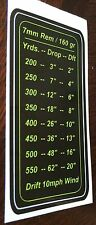 7mm Remington 160gr Drop Chart Decal for Stock Colt Ruger Kimber Sig Sauer