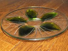 """LALIQUE """"LOTUS LEAF"""" Glass Crystal Plate Signed 9"""" diameter Green"""