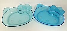 Hello Kitty Plate Clear Blue Face Plastic Set of 2 Sanrio Japan