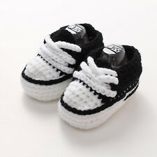 Black Baby Infant Boy Girl Crochet Knitted Socks Crib Shoes Sandal Slippers 0-6M