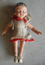 "All Original Vintage 1930s Composition Character Girl Doll 13"" Tall"
