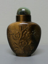 BEAUTIFUL TIGER'S EYE STONE 19th C. ANTIQUE CHINESE SNUFF BOTTLE