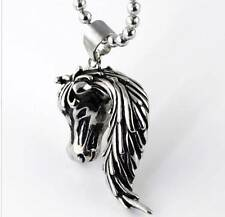 "3D STAINLESS STEEL HORSE PONY FOAL STALLION HEAD PENDANT NECKLACE & 24"" CHAIN"