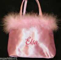Personalized Girls Pink Satin With Pink Marabou Purse Tote Bag  Free Shipping