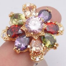 Wholesale Charms Colors Cubic Zirconia Gold Filled Women's Luxury Rings Size 6