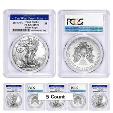 PRESALE - Lot of 5 - 2017-W 1 oz Silver American Eagle $1 Coin PCGS MS 70 First