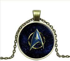 Vintage Trek universe Cabochon Bronze Glass Chain Pendant Necklace W148