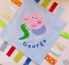 George Pig Embroidered Taggy Blanket Taggie Baby Comforter Gift Personalised