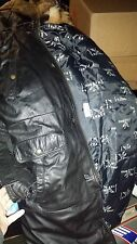 TRIPLE FAT GOOSE Black Leather Trench Down Winter Coat Jacket FUR Hood Size XL