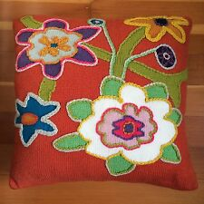 """CUTE! Pottery Barn PILLOW Fresh Flowers Crewel Floral Embroidery Square 17"""""""