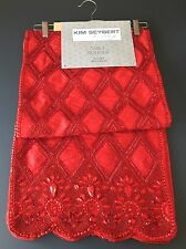 Red Table Runner Beaded Designer Decor Kim Seybert Holiday Valentine Christmas