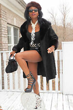 Designer Sable mink fur trimmed Black Swakara persian lamb Coat Jacket  S-M 4-12