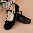 Ladies Chinese Mary Jane Shoes Ballerina Work Velvet Fabric Flats Cotton Sole