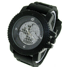 MENS ICED OUT BLACK ICE NATION HIP HOP WATCH WITH SILICONE BAND