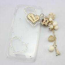 1x 3D bling peacock girl diamond crystal clear case cover FOR HTC one X S V m7