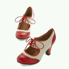 """NIB Modcloth """"The Best of Times Heel In Red"""", Red & Cream, Retro Shoes, Size 9"""