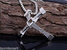 New Jewelled Crystal Crucifix Cross Necklace Pendant Box Chain Dominic Torreto's