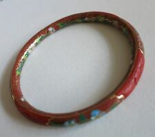 """RARE IN-OUT VINTAGE CHINESE CARVED CINNABAR LACQUER CLOISONNE BANGLE BRACELET 7"""""""