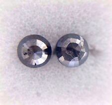 0.63TCW 3.7 MM Round Rose cut Black Color Natural Loose Diamond Pair for Earring