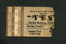 Early Rare 1972 Yes Eagles Concert Ticket Stub Dallas Texas Close To The Edge