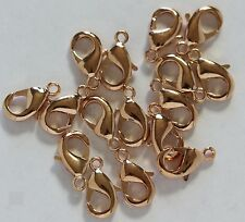 12 Mm Rose Gold Plated Brass Lobster Clasp Pkg. of 25 /Quality Us Seller
